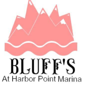 Bluff's logo, pink mountains on flowing water.