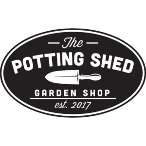 Black oval Potting Shed logo with white writing: Supplier of Uncle Keiths Red Sauce