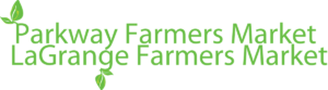 Parkway & LaGrange Farmers Market Logo. Green writing with leaves