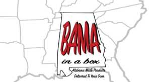 Bama in a Box logo with state map behind it. They love Uncle Keiths Red Sauce. Best salsa around.