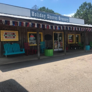 Store front of Holiday Shores Grocery with sells Uncle Keiths Red Sauce Salsa